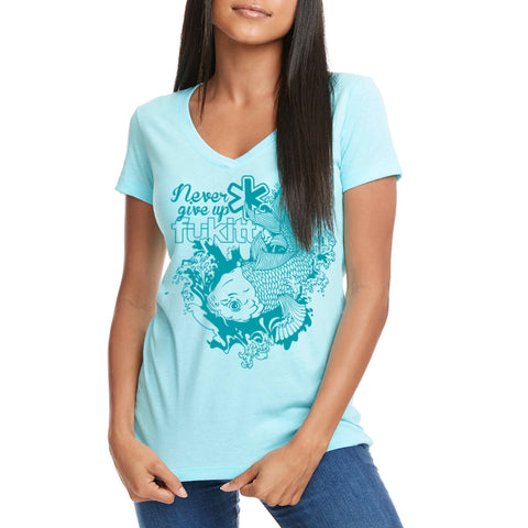 Fukitt Clothing | Koing Design Ladies Cancun Light Blue V-Neck T-Shirt