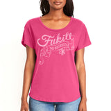 Fukitt Clothing | Regrets Design on Ladies Hot Pink Dolman T-Shirt