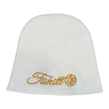 "Fukitt Clothing | Vibe Script 8"" White Knit Beanie with Gold"