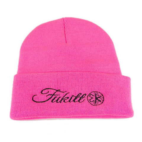 Vibe Script Neon Pink Knit Beanie SP12