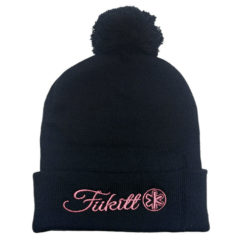 "Fukitt Clothing | Solid Black and Pink Pom Pom 12"" Knit Beanie"
