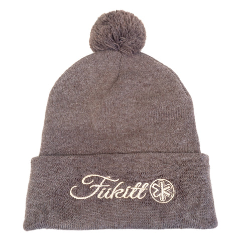 "Fukitt Clothing | Heather Brown Pom Pom 12"" Knit Beanie"