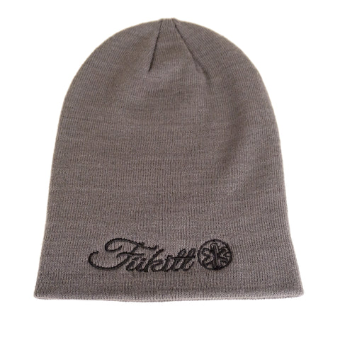 Fukitt Clothing | Vibe Script Design on an Oversized Grey Beanie