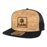 Fükitt Clothing | Square Design on Flat Brim Cork Trucker Hat