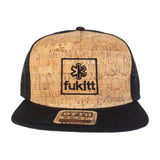 Fükitt Clothing | Square Design on Flat Brim Cork Trucker Hat Front