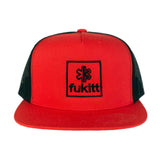 Fukitt Clothing | Square Design on Red & Black Flat Brim Trucker Hat Front