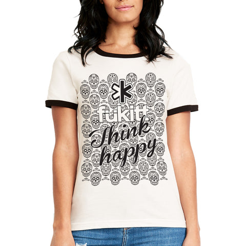 Fukitt Clothing | Thappy Design on Ladies White & Black Ringer T-Shirt