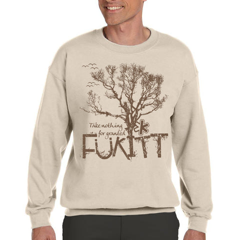 Fukitt Clothing | Tree Design on Light Brown Fleece Crew Sweatshirt