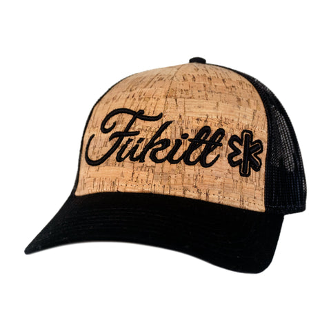Fükitt Clothing | Vibe Script Design on Curved Brim Cork Trucker Hat