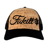 Fükitt Clothing | Vibe Script Design on Curved Brim Cork Trucker Hat Front