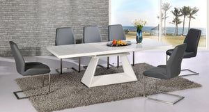 Italia Extending White Table with 6 Mariya Chairs Grey