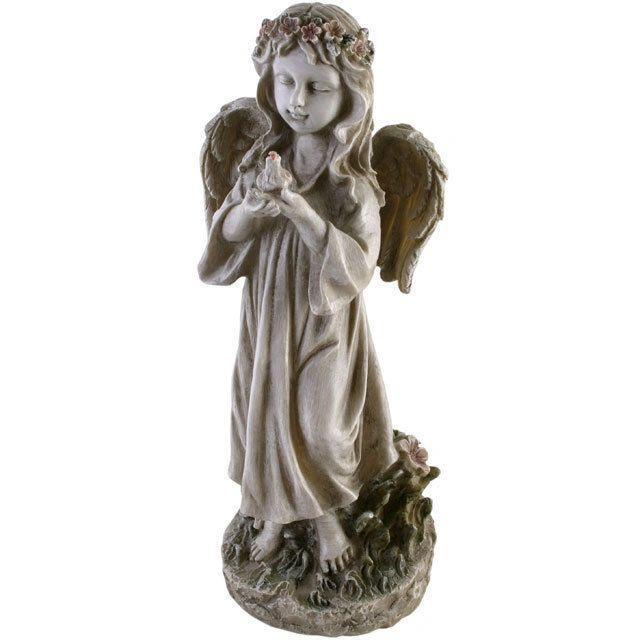Large Standing Floral Angel Statue Ornament Holding a Bird