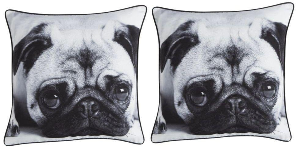 Large Cute Pug Cushion Black & White 43cm x 43cm (Set of 2)