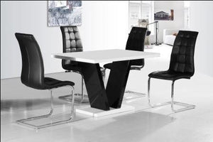 Zara White Table Top with 4 Enzo Chairs Black