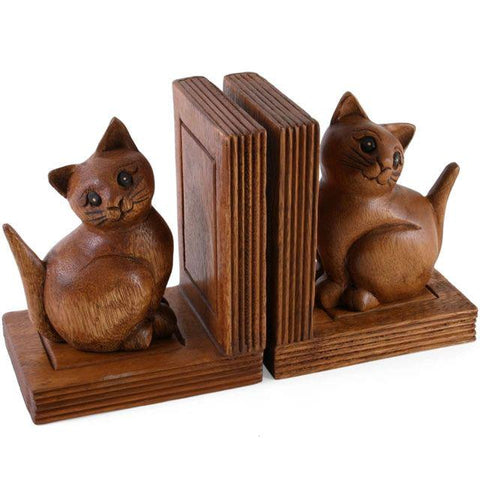 Cat Bookends Wooden Craved Acacia