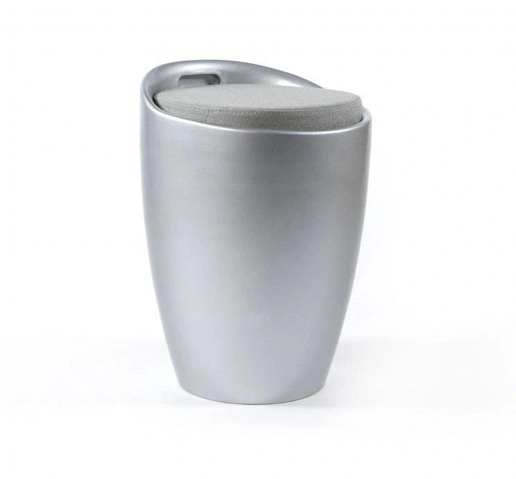 KOKOON Ese Storage Stool Silver With Grey Seat