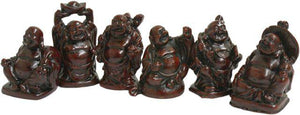 Red Buddha Resin Figurine Set of 6 Buddah