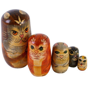 Wooden Russian Dolls Cat Design Set of 5