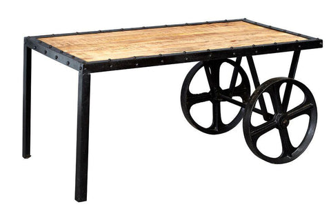 Indian Hub COSMO Industrial Style Cart Coffee Table