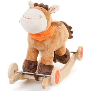 Dark Brown Wooden Toy Rocking Horse with Sounds and Wheels 2 in 1 Ride On