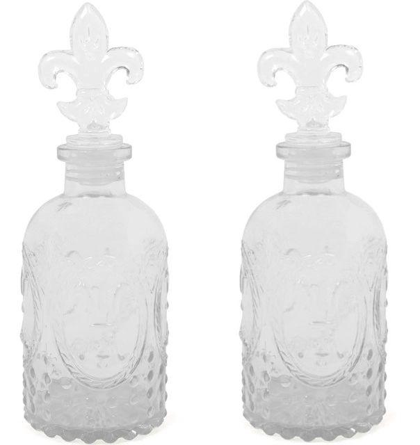 Glass Bottle With Fleur De Lis Lid Perfume Bottle Set of 2
