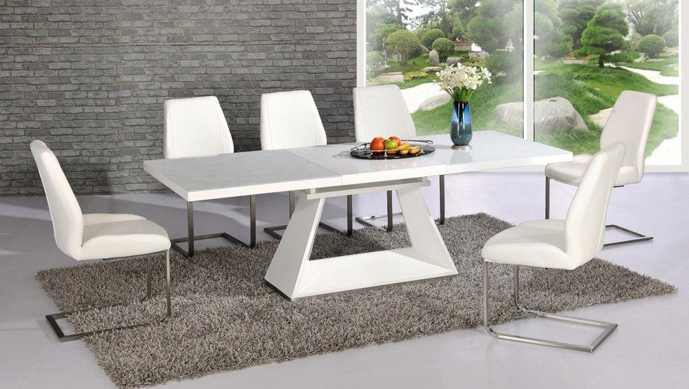 Italia Extending White Table with 6 Mariya Chairs White