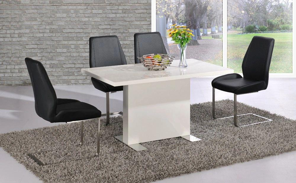 Marco High Gloss Table with 4 Mariya Chairs Black