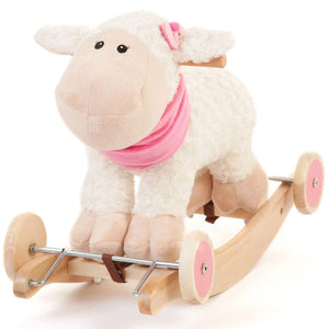 White Wooden Toy Rocking Sheep with Sounds and Wheels 2 in 1 Ride On
