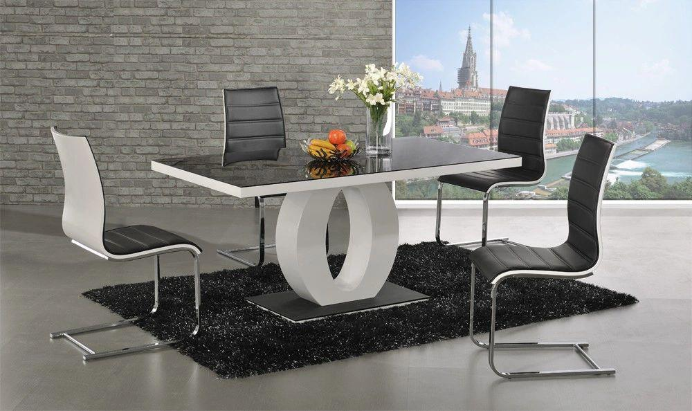 Prime Halo Black Glass White High Gloss Dining Table With 4 Or 6 Encore Chairs Pabps2019 Chair Design Images Pabps2019Com