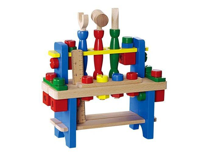 Kids Wooden DIY Toy Tool Shelf Work Bench