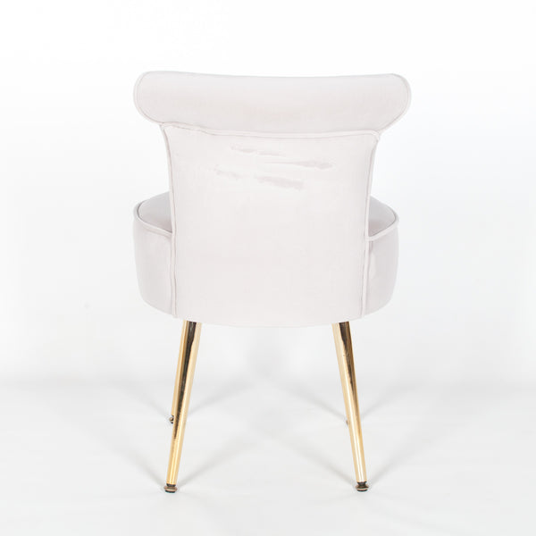 Grey Stool / Bedroom Chair with Gold Legs