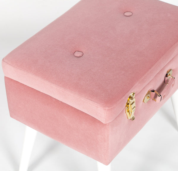 Pink Suitcase Stool with White Legs
