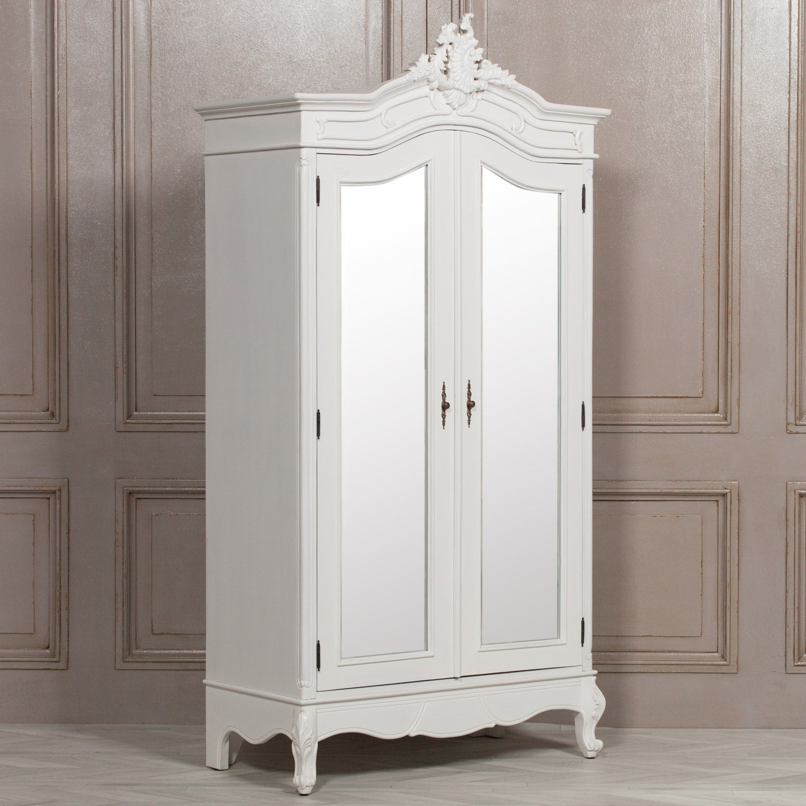 French Style White Carved Double Full Mirrored Armoire