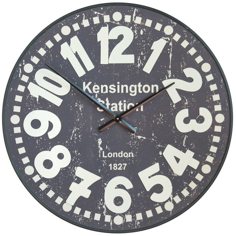 Kensington Station Wall Clock with Raised Numerals