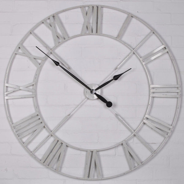 Distressed Off White Metal Twist Frame Wall Clock