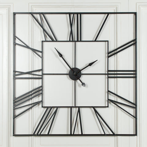 Extra Large 120cm Black Square Metal Wall Clock