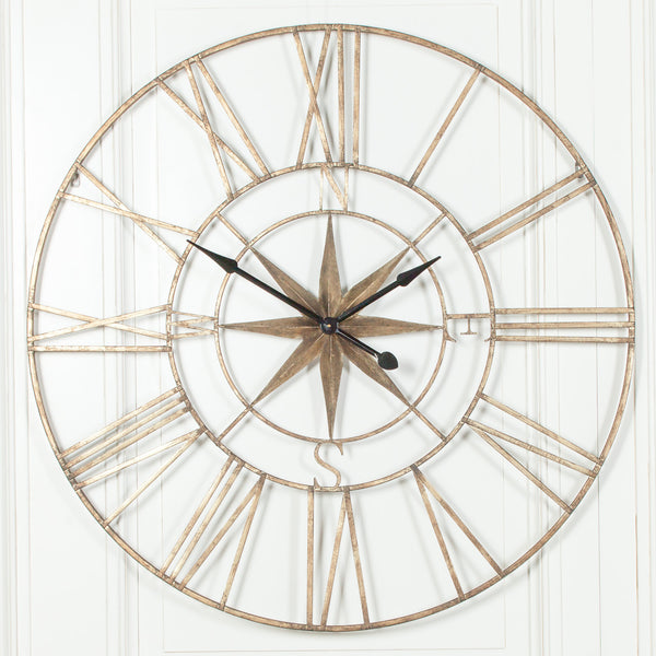 Extra Large 120cm Rustic Metal Compass Wall Clock