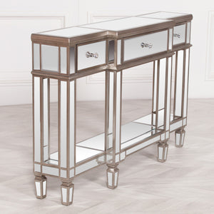 Champagne Silver Mirror Console Table