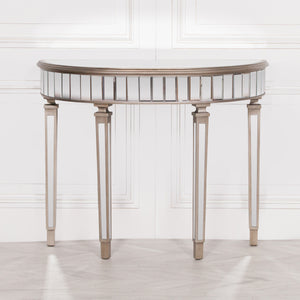 Champagne Silver Mirrored Glass Half Moon Hall Table