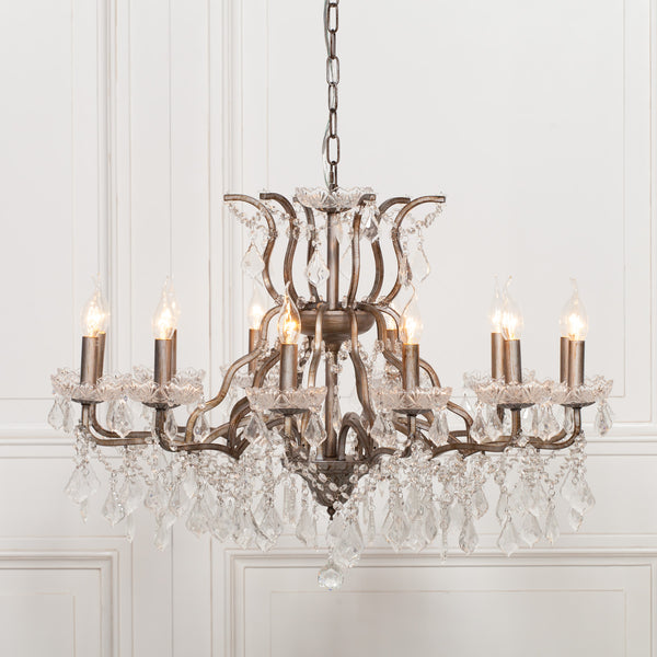 Antiqued Silver 12 Branch Shallow Cut Glass Chandelier