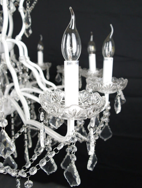 White 12 Branch Shallow Cut Glass Chandelier