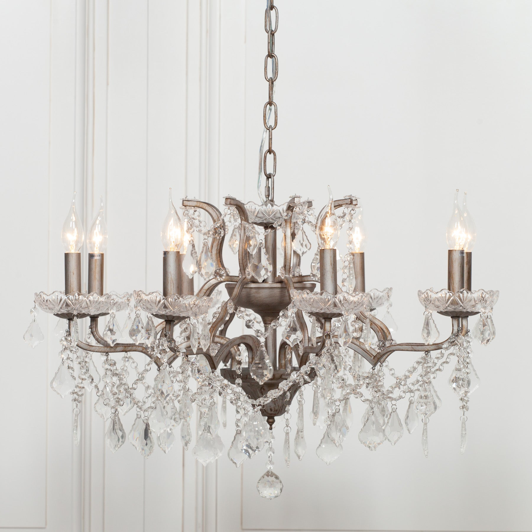 Silver 8 Branch Shallow Cut Glass Chandelier