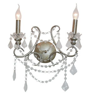 Antique Silver 2 Branch Cut Glass Chandelier Wall Light