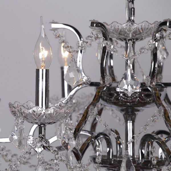 Chrome 6 Branch Shallow Cut Glass Chandelier