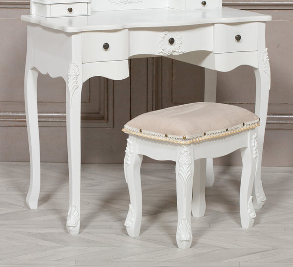 French White Dressing Table and Stool