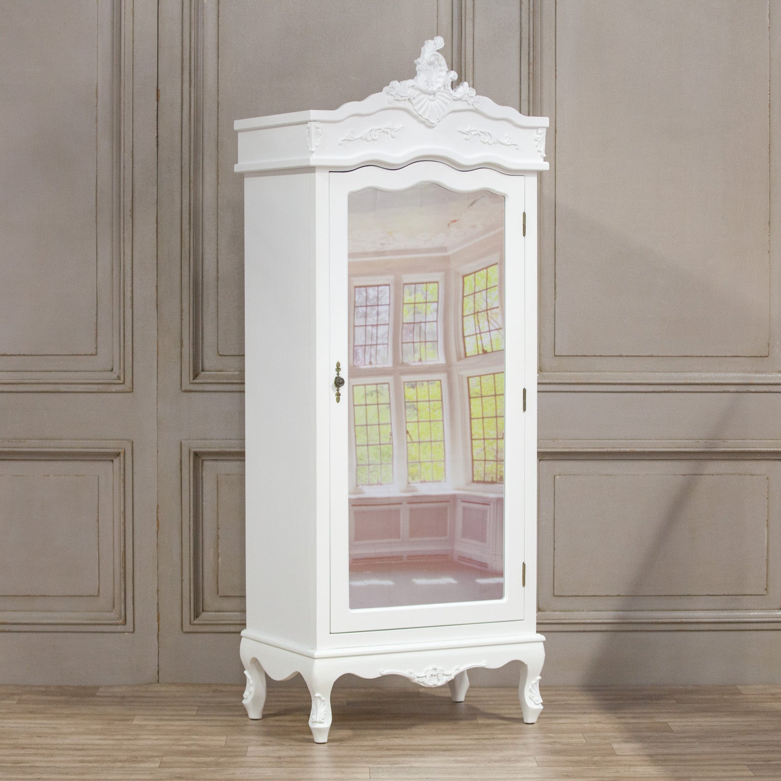French White Single Door Armoire with Mirrored Door