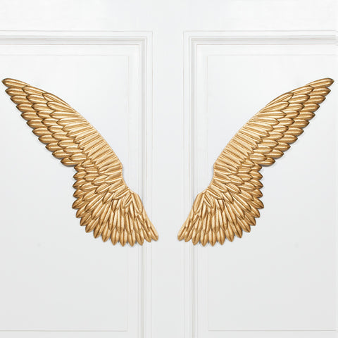Large Metal Wall Gold Angel Wings