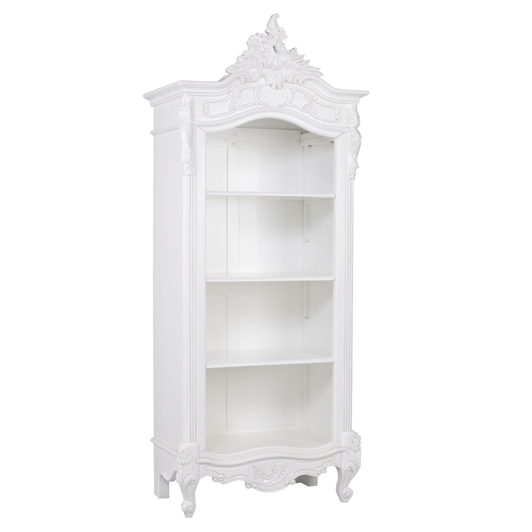 White Carved Bookcase