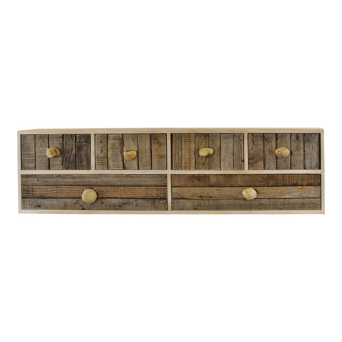 6 Drawer Unit, Driftwood Effect Drawers With Pebble Handles, Freestanding or Wall Mountable