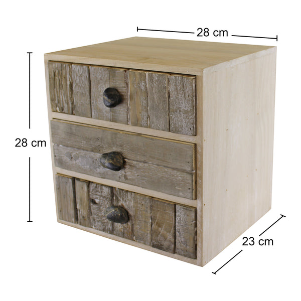 3 Drawer Unit, Driftwood Effect Drawers With Pebble Handles